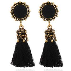 NWT Black Hole Sun Beaded Boho Tassel Earrings
